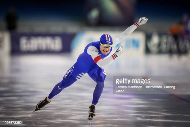 Sverre Lunde Pedersen of Norway competes in the Men's 500m Allround during the ISU European Speed Skating Championships at Thialf on January 16, 2021...