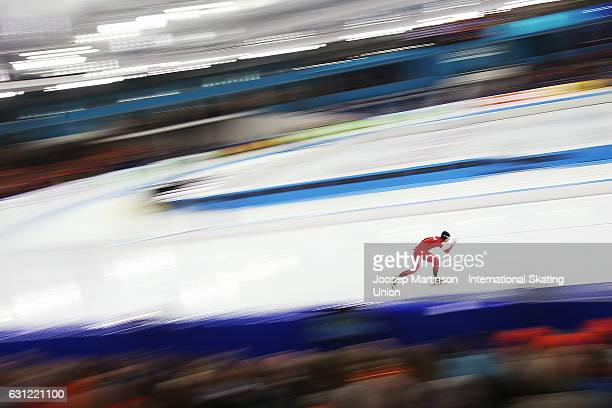 Sverre Lunde Pedersen of Norway competes in the Men's Allround 10000m during day 3 of the European Speed Skating Championships at icerink Thialf on...