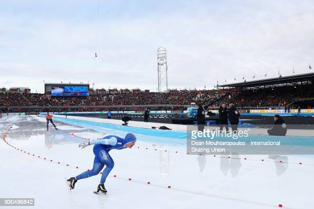 Sverre Lunde Pedersen of Norway looks competes in the 10000m Mens race during the World Allround Speed Skating Championships at the Olympic Stadium...