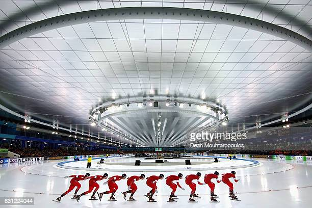 Sverre Lunde Pedersen of Norway competes in the 10000m Mens Allround Race on Day Three of the ISU European Speed Skating Championships held at the...