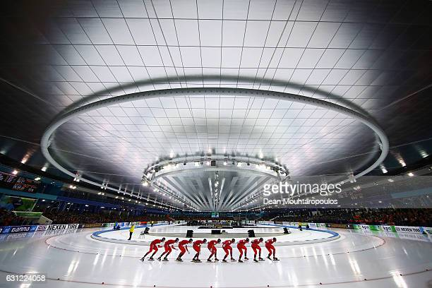 Sverre LundePedersen of Norway competes in the 10000m Mens Allround Race on Day Three of the ISU European Speed Skating Championships held at the...