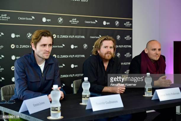 Sverrir Gudnason Janus Metz Pedersen and Ronnie Sandahl speak at the 'Borg vs McEnroe' press conference during the 13th Zurich Film Festival on...