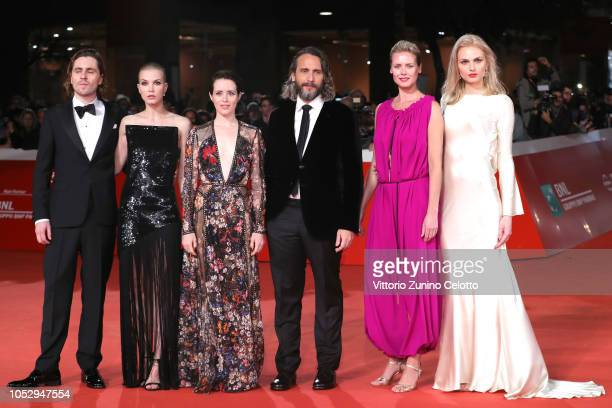 Sverrir Gudnason Sylvia Hoeks Claire Foy Fede Alvarez Synnove Macody Lund and Andreja Pejic walk the red carpet ahead of the 'The Girl In The...