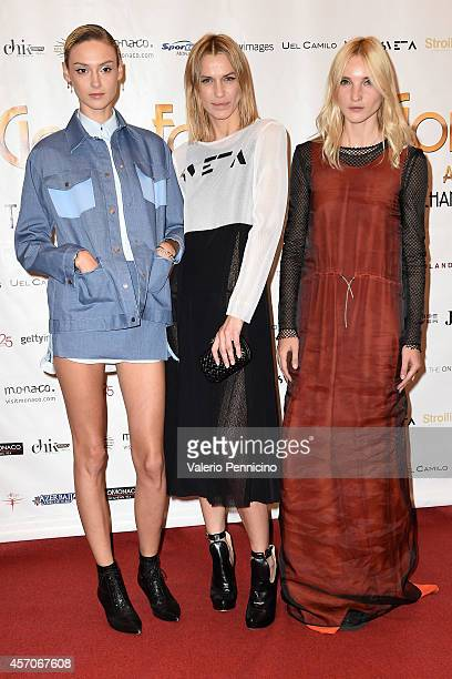 Sveta Sotnikova with models attend the Golden Foot Footprints Ceremony on October 11 2014 in MonteCarlo Monaco