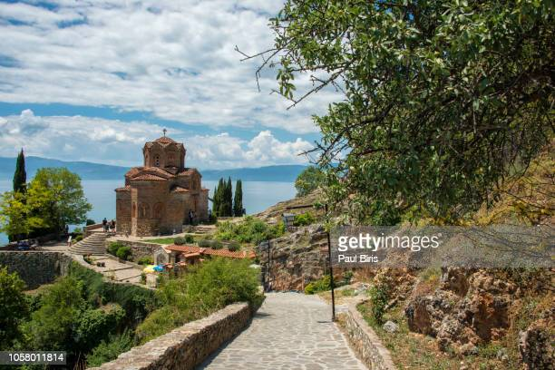 sveti (saint) jovan kaneo church on lake ohrid, macedonia - skopje stock pictures, royalty-free photos & images