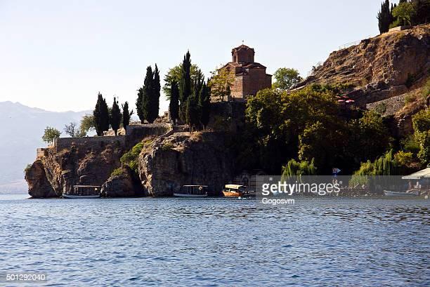 sveti (saint) jovan kaneo church - lake ohrid stock photos and pictures