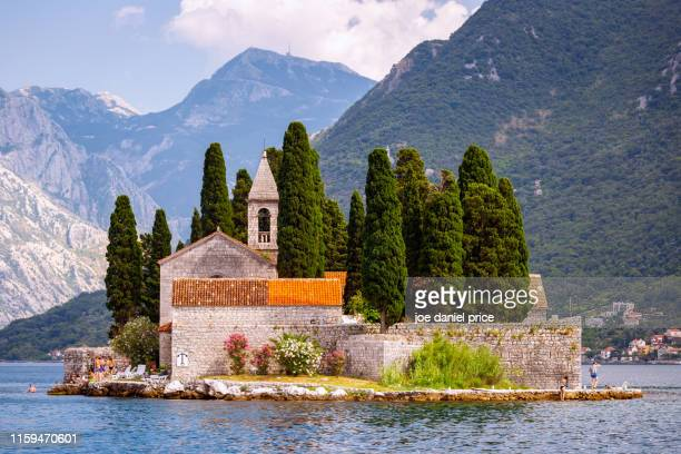 sveti juraj monastery, saint george island, perast, montenegro - adriatic sea stock pictures, royalty-free photos & images