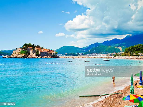 sveti stefan island city, sea, mounitai and part of beach - montenegro bildbanksfoton och bilder