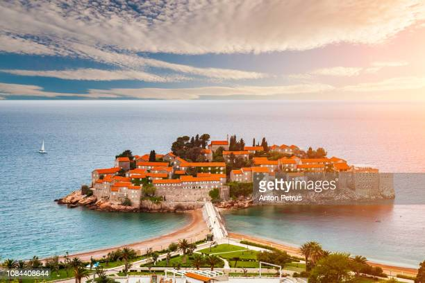 sveti stefan island in budva in a beautiful summer day, montenegro - montenegro stock pictures, royalty-free photos & images