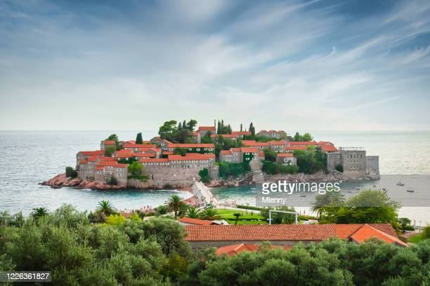 sveti stefan island old town montenegro - kotor bay stock pictures, royalty-free photos & images