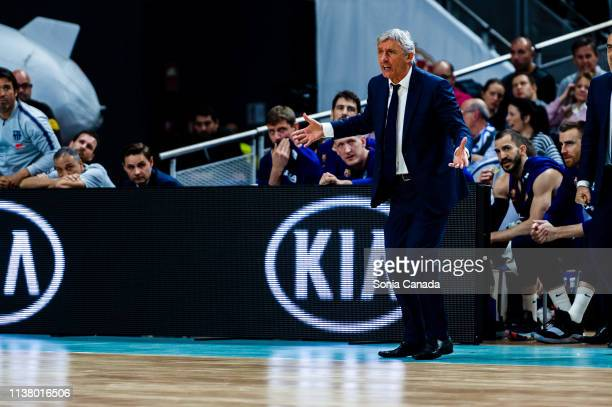 Svetislav Pesic during the Liga Endesa match between Real Madrid and FC Barcelona Lassa at Wizink Center on March 24 2019 in Madrid Spain