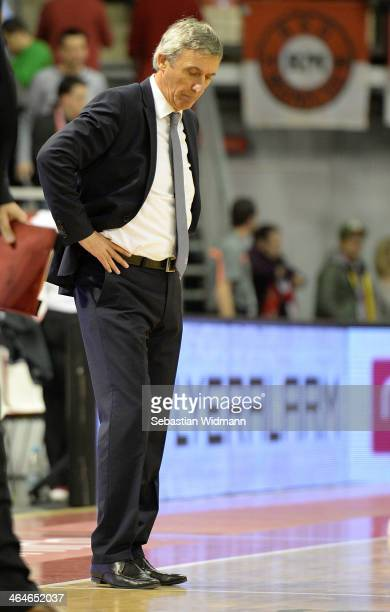 Svetislav Pesic Head Coach of FC Bayern Munich in action during the 20132014 Turkish Airlines Euroleague Top 16 Date 4 game between FC Bayern Munich...