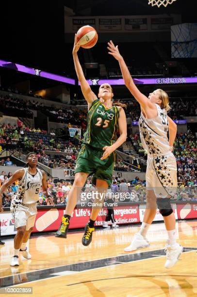 Svetlana Abrosimova of the Seattle Storm shoots against Jayne Appel of the San Antonio Silver Stars on July 20 2010 at the ATT Center in San Antonio...