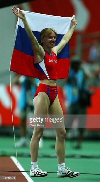 Svetlana Feofanova of Russia celebrates during the Final of the womens Pole Vault at the 9th IAAF World Athletics Championships at the Stade de...