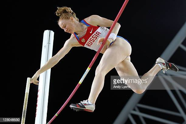 Svetlana Feofanova of Russia competes in the women's pole vault final during day four of the 13th IAAF World Athletics Championships at the Daegu...