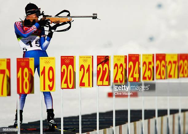 Svetlana Ishmouratova of Russia competes in the Womens Biathlon 15km Individual Final on Day 3 of the 2006 Turin Winter Olympic Games on February 13...