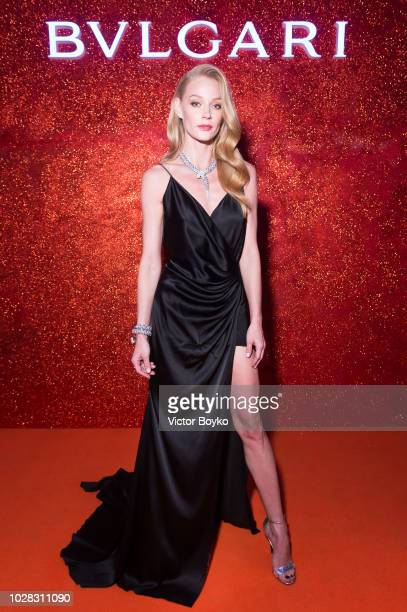 Svetlana Khodchenkova attends the party in Pashkov House as part of the opening of the Bulgari exhibition at Kremlin Museum on September 6 2018 in...