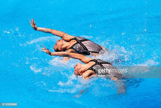 Svetlana Kolesnichenko and Alexandra Patskevich of Russia compete during the Synchronised Swimming Duet Technical final on day three of the Budapest...