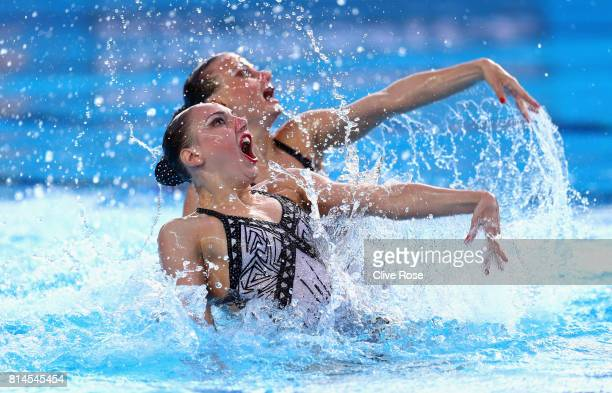 Svetlana Kolesnichenko and Alexandra Patskevich of Russia competes during the womens Synchronised Duet Technical Preliminary round on day one of the...