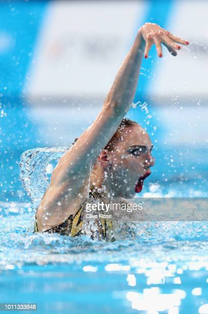 Svetlana Kolesnichenko of Russia competes in the Solo Free Routine Preliminary round during the Synchronised Swimming on Day Four of the European...