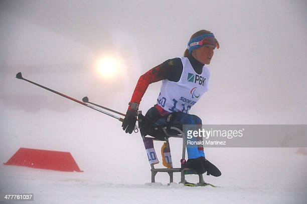 Svetlana Konovalova of Russia competes in the Women's Biathlon 10km Sitting during day four of Sochi 2014 Paralympic Winter Games at Laura...