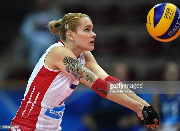 Svetlana Kryuchkova of Russia receives the ball during the FIVB Women's World Championship pool C match between Russia and Mexico on September 24...