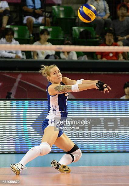 Svetlana Kryuchkova of Russia receives the ball during the FIVB World Grand Prix Final group one match between Russia and China on August 24 2014 in...