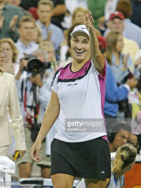Svetlana Kuznetsova celebrates her women's final victory at the US Open versus Elena Dementieva Kuznetsova won in straight sets 63 75