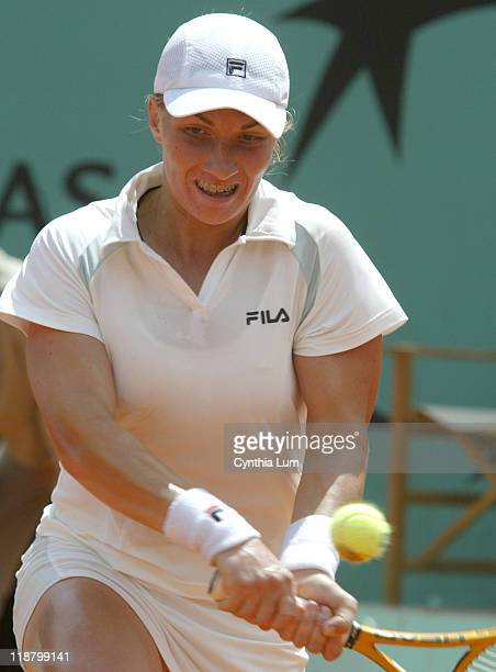 Svetlana Kuznetsova during her fourth round match against Justine HeninHardenne at the 2005 French Open on May 30 2005 Kuznetsova is defeated by...
