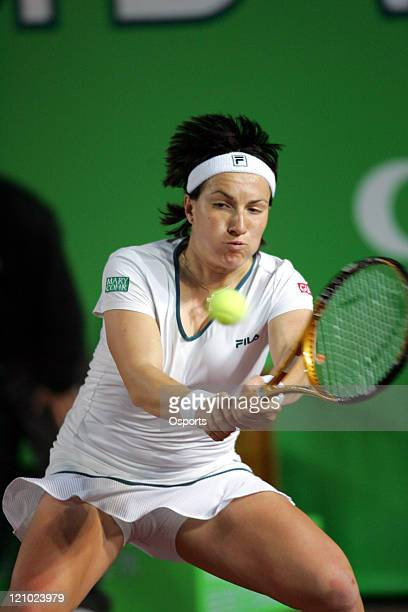 Svetlana Kuznetsova in action during the Silver Group singles semi final match between China's Zheng Jie and Russia's Svetlana Kuznetsova in the...