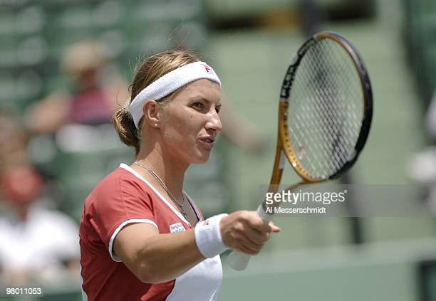 Svetlana Kuznetsova in women's doubles semifinal at the 2006 NASDAQ 100 Open at Key Biscayne Florida Lisa Ramond and Samantha Stosur defeated Amelie...
