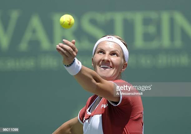 Svetlana Kuznetsova in women's doubles semifinal at the 2006 NASDAQ 100 Open at Key Biscayne Florida Lisa Ramond and Samantha Stosur defeated Amelie...