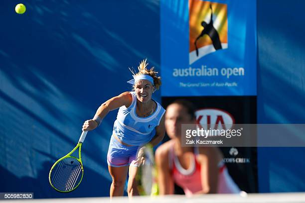 Svetlana Kuznetsova of Russia and Roberta Vinci of Italy compete in their first round match against Kiki Bertens of the Netherlands and Johanna...