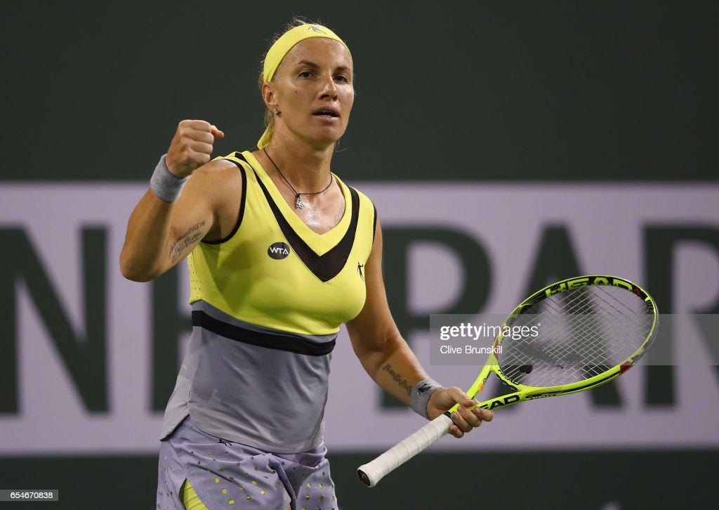Svetlana Kuznetsova of Russia celebrates a point against Karolina Pliskova of the Czech Republic in their semi final match during day twelve of the BNP Paribas Open at Indian Wells Tennis Garden on March 17, 2017 in Indian Wells, California.