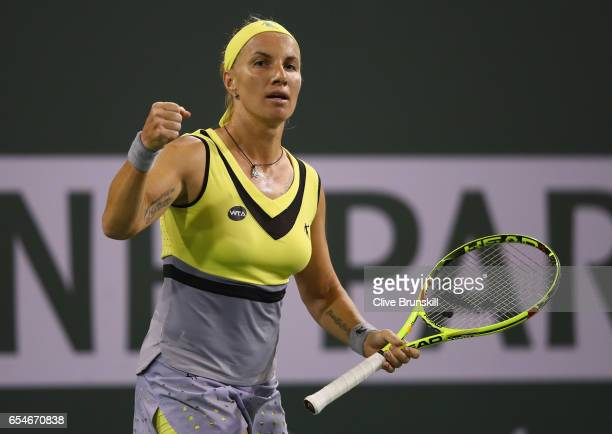 Svetlana Kuznetsova of Russia celebrates a point against Karolina Pliskova of the Czech Republic in their semi final match during day twelve of the...