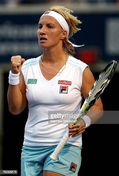 Svetlana Kuznetsova of Russia celebrates a point against Roberta Vinci of Italy during the Rogers Cup August 14 2007 at the Rexall Center in Toronto...