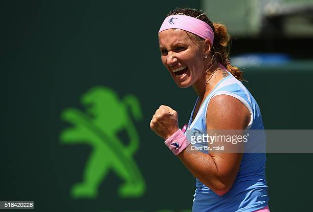 Svetlana Kuznetsova of Russia celebrates a point against Timea Bacsinszky of Switzerland during their semi final match during the Miami Open...