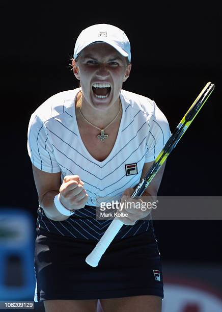 Svetlana Kuznetsova of Russia celebrates after winning the match in her third round match against Justine Henin of Belgium during day five of the...
