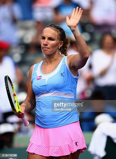 Svetlana Kuznetsova of Russia celebrates to the crowd after her straight sets victory against Timea Bacsinszky of Switzerland during their semi final...