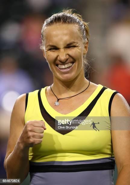 Svetlana Kuznetsova of Russia celebrates to the crowd after her straight sets victory against Karolina Pliskova of the Czech Republic in their semi...
