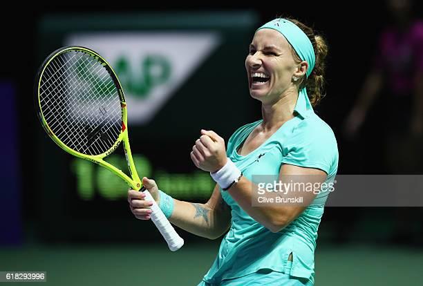Svetlana Kuznetsova of Russia celebrates victory in her singles match against Karolina Pliskova of Czech Republic during day 4 of the BNP Paribas WTA...