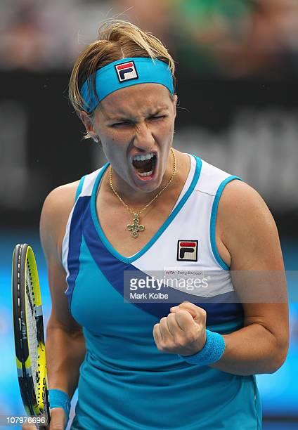 Svetlana Kuznetsova of Russia celebrates winning a point in her match against Sam Stosur of Australia during day three of the 2011 Medibank...
