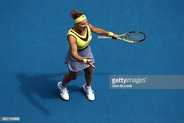 Svetlana Kuznetsova of Russia celebrates winning her third round match against Jelena Jankovic of Serbia on day five of the 2017 Australian Open at...