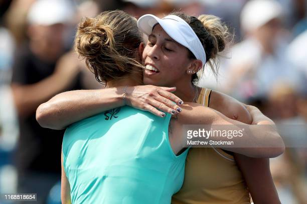 Svetlana Kuznetsova of Russia congratulates Madison Keys after their match during the women's final of the Western Southern Open at Lindner Family...
