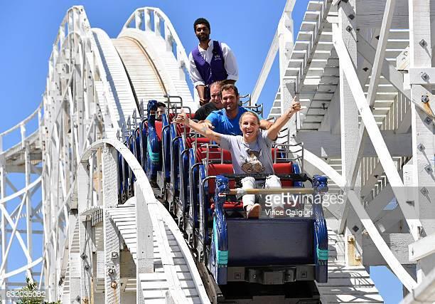 Svetlana Kuznetsova of Russia enjoys having fun on the scenic railway at Luna Park during day four of the 2017 Australian Open at Melbourne Park on...