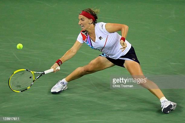 Svetlana Kuznetsova of Russia hits a forehand against Caroline Wozniacki of Denmark during Day Eight of the 2011 US Open at the USTA Billie Jean King...