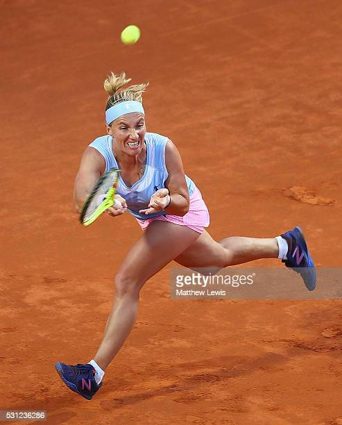 Svetlana Kuznetsova of Russia in actin against Serena Williams of the United States during day six of the The Internazionali BNL d'Italia 2016 on May...
