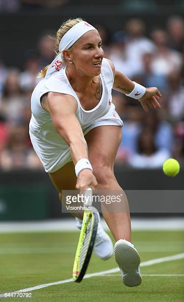 Svetlana Kuznetsova of Russia in action against Sloane Stephens of USA at Wimbledon on July 3 2016 in London England