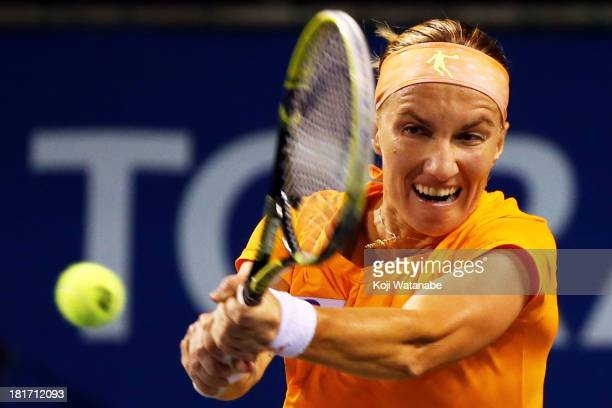 Svetlana Kuznetsova of Russia in action during her women's singles second round match against Sara Errani of Italy during day three of the Toray Pan...