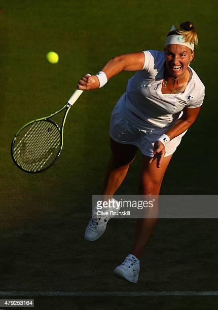Svetlana Kuznetsova of Russia in action during her Women's Singles Second Round match against Karolina Pliskova of Czech Republic during day four of...